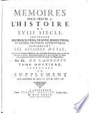 Contenant Le Supplement Aux Anne  s M DCC II  Et M DCC III