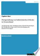 Preisgestaltung von belletristischen E Books in Deutschland