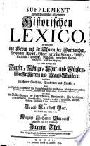 Supplement zu dem Baselischen allgemeinen Historischen Lexico0