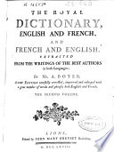 The Royal Dictionary English and French and French and English