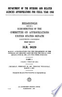 Department of the Interior and Related Agencies Appropriations for Fiscal Year 1968