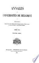 Annales Des Universit S De Belgique