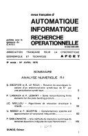 Revue fran  aise d automatique  informatique  recherche operationnelle