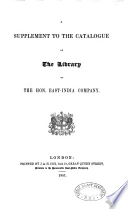 Catalogue Of The Library Of The Hon East India Company
