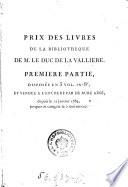 Prix Des Livres De La Bibliotheque     Premiere Partie