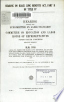 Hearing On Black Lung Benefits Act Part B Of Title Iv