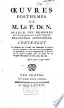 Oeuvres posthumes de M. le P. de N.