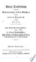 Kurze Darstellung einer Einleitung in die Bücher des alten Bundes. 2. Aufl