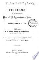Programm des Grossherzoglichen Pro- und Realgymnasiums in Baden