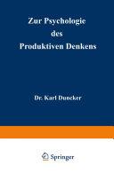 Zur Psychologie des produktiven Denkens