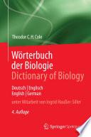 W  rterbuch der Biologie Dictionary of Biology