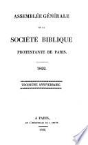 Assemblée générale de la Société Biblique Protestante de Paris