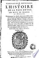 Chronologie septenaire de l histoire de la paix entre les mis de France et d Espagne
