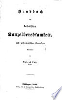 Handbuch der kathol  Kanzelberedsamkeit