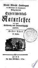 Adolph Albrecht Hambergers der Weltweisheit und Arzneykunst D. Allgemeine Experimental-Naturlehre
