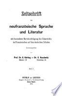 Zeitschrift für neufranzösische [afterw.] französische Sprache und Literatur, herausg. von G. Körting und E. Koschwitz. [With] Register, Band. i-l, zusammengestellt von E. Kredel