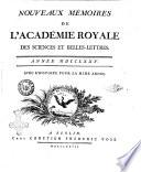 Nouveaux memoires de l Academie royale des sciences et belles lettres  avec l histoire pour la meme annee