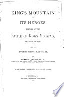 King's Mountain and Its Heroes