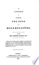 An attempt to illustrate the book of Ecclesiastes