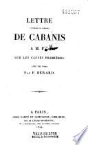 Lettre posthume et inédite de Cabanis à M. F*** sur les causes premières