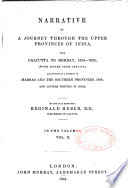 Narrative of a Journey Through the Upper Provinces of India  from Calcultta to Bombay  1824 1825