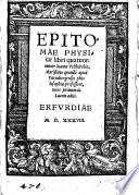Epitomae Physicae libri quatuor