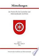 Mitteilungen des Vereins für die Geschichte und Altertumskunde von Erfurt. Heft 73, Neue Folge - Heft 20, 2012