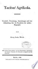 Abhandlung   ber Tacitus  Agrikola oder die Kunstform der antiken Biographie