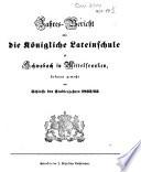 Jahres-Bericht der Königlichen Latein-Schule zu Schwabach