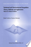 Variational And Hemivariational Inequalities Theory Methods And Applications
