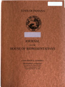 Book Journal of the House of Representatives of the State of Indiana at Their ... Session