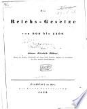 Die Reichs-Gesetze von 900 bis 1400