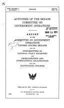 Activities of the Senate Committee on Government Operations