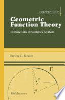 Geometric Function Theory
