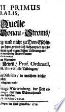 Fons Danubii Primus Et Naturalis  Oder Die Ur Quelle Des Welt ber  hmten Donau Stroms