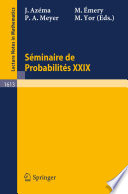 illustration du livre Seminaire de Probabilites XXIX