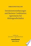 Investorenvereinbarungen und Business Combination Agreements bei Aktiengesellschaften
