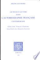 Lecteur et lecture dans l autobiographie franc  aise contemporaine