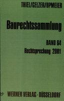 Baurechtssammlung 64. Rechtsprechung 2001.