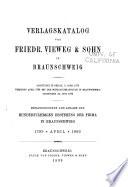 Verlagskatalog von Friedr. Vieweg & Sohn in Braunschweig