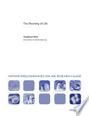 Meaning Of Life Oxford Bibliographies Online Research Guide