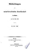 Mitteilungen der Naturforschenden Gesellschaft in Bern