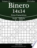 illustration Binero 14x14 Gros Caractères - Facile à Difficile - Volume 11 - 276 Grilles