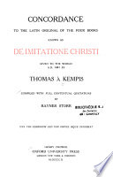 Concordance to the Latin Original of the Four Books as  De Imitatione Christi  Given to the World AD 1441 by Thomas a Kempis