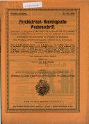 Psychiatrisch neurologische Wochenschrift