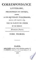 Correspondance Litteraire  Philosophique et Critique