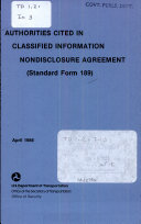 Authorities Cited In Classified Information Nondisclosure Agreement Standard Form 189