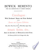 Bewick memento     Catalogue with purchasers  names and prices realised of the     collection of     Bewick relics  etc   sold by auction     1884 Book PDF