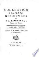 Contenant les IV premiers Livres d Emile  ou de l Education
