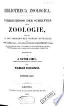 Verzeichniss der schriften uber zoologie